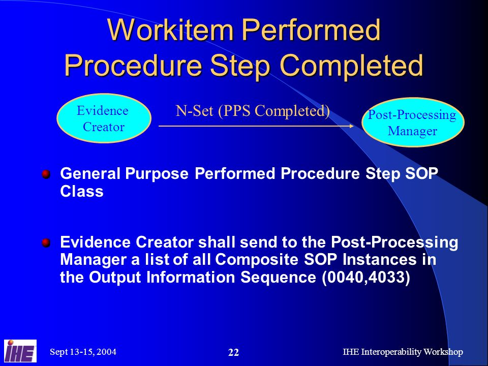 Sept 13-15, 2004IHE Interoperability Workshop 22 Workitem Performed Procedure Step Completed General Purpose Performed Procedure Step SOP Class Evidence Creator shall send to the Post-Processing Manager a list of all Composite SOP Instances in the Output Information Sequence (0040,4033) N-Set (PPS Completed) Post-Processing Manager Evidence Creator