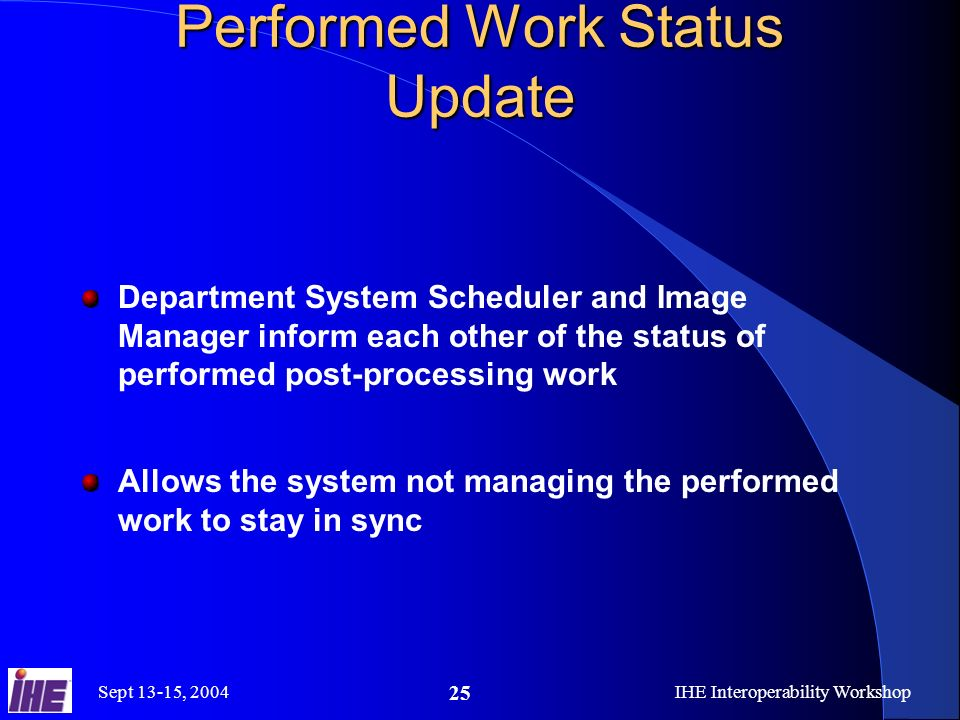 Sept 13-15, 2004IHE Interoperability Workshop 25 Performed Work Status Update Department System Scheduler and Image Manager inform each other of the status of performed post-processing work Allows the system not managing the performed work to stay in sync
