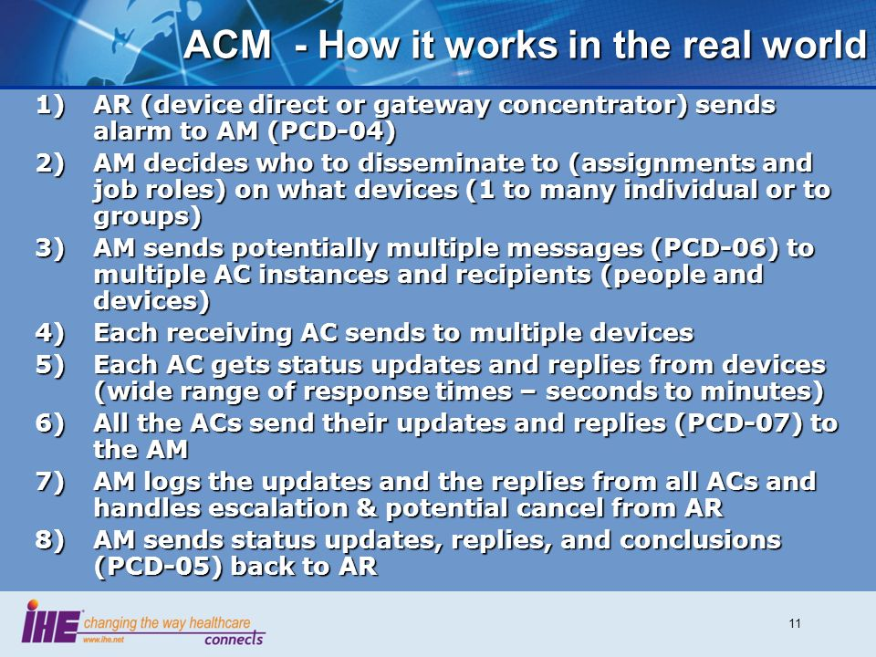 11 ACM - How it works in the real world 1)AR (device direct or gateway concentrator) sends alarm to AM (PCD-04) 2)AM decides who to disseminate to (assignments and job roles) on what devices (1 to many individual or to groups) 3)AM sends potentially multiple messages (PCD-06) to multiple AC instances and recipients (people and devices) 4)Each receiving AC sends to multiple devices 5)Each AC gets status updates and replies from devices (wide range of response times – seconds to minutes) 6)All the ACs send their updates and replies (PCD-07) to the AM 7)AM logs the updates and the replies from all ACs and handles escalation & potential cancel from AR 8)AM sends status updates, replies, and conclusions (PCD-05) back to AR