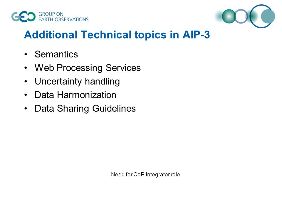 Additional Technical topics in AIP-3 Semantics Web Processing Services Uncertainty handling Data Harmonization Data Sharing Guidelines Need for CoP Integrator role