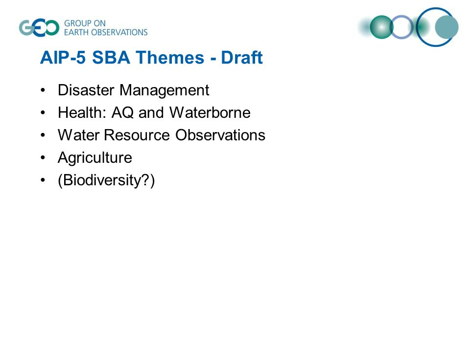 AIP-5 SBA Themes - Draft Disaster Management Health: AQ and Waterborne Water Resource Observations Agriculture (Biodiversity )