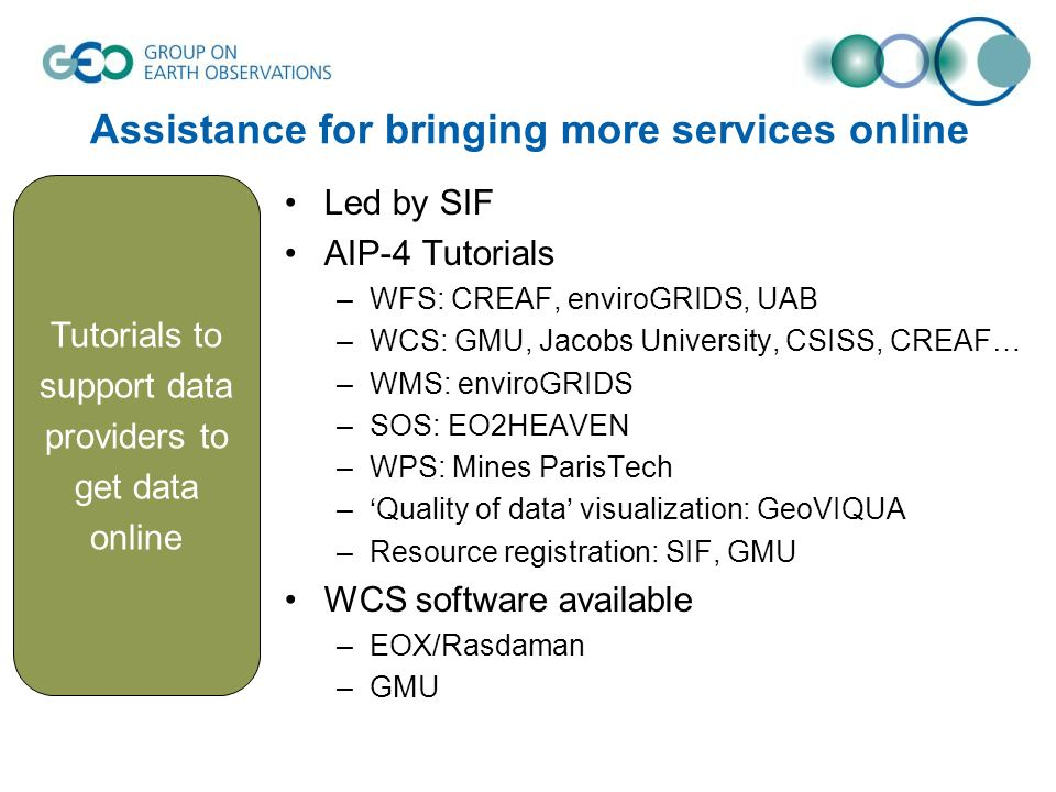 Assistance for bringing more services online Led by SIF AIP-4 Tutorials –WFS: CREAF, enviroGRIDS, UAB –WCS: GMU, Jacobs University, CSISS, CREAF… –WMS: enviroGRIDS –SOS: EO2HEAVEN –WPS: Mines ParisTech –Quality of data visualization: GeoVIQUA –Resource registration: SIF, GMU WCS software available –EOX/Rasdaman –GMU Tutorials to support data providers to get data online
