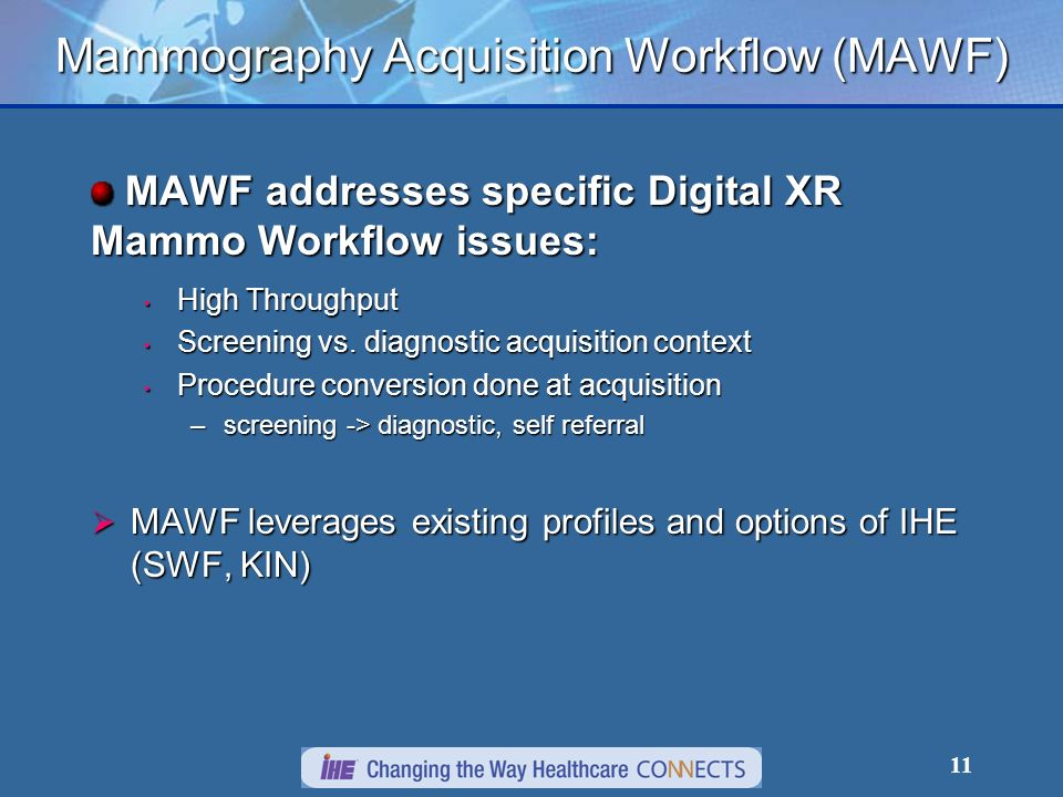 11 Mammography Acquisition Workflow (MAWF) MAWF addresses specific Digital XR Mammo Workflow issues: MAWF addresses specific Digital XR Mammo Workflow issues: High Throughput High Throughput Screening vs.