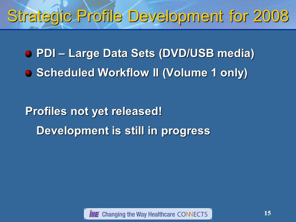 15 Strategic Profile Development for 2008 PDI – Large Data Sets (DVD/USB media) Scheduled Workflow II (Volume 1 only) Profiles not yet released.