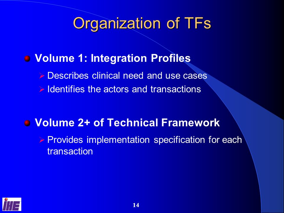 13 IHE Technical Frameworks Detailed standards implementation guides – Cardiology – IT Infra – Lab – Radiology