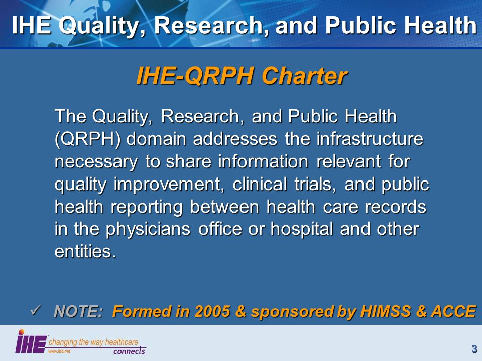 3 IHE Quality, Research, and Public Health IHE-QRPH Charter The Quality, Research, and Public Health (QRPH) domain addresses the infrastructure necessary to share information relevant for quality improvement, clinical trials, and public health reporting between health care records in the physicians office or hospital and other entities.