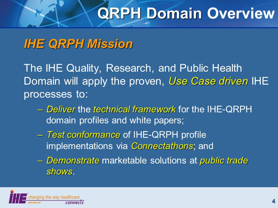 4 QRPH Domain QRPH Domain Overview IHE QRPH Mission Use Case driven The IHE Quality, Research, and Public Health Domain will apply the proven, Use Case driven IHE processes to: –Delivertechnical framework –Deliver the technical framework for the IHE-QRPH domain profiles and white papers; –Test conformance Connectathons –Test conformance of IHE-QRPH profile implementations via Connectathons; and –Demonstrate public trade shows –Demonstrate marketable solutions at public trade shows.