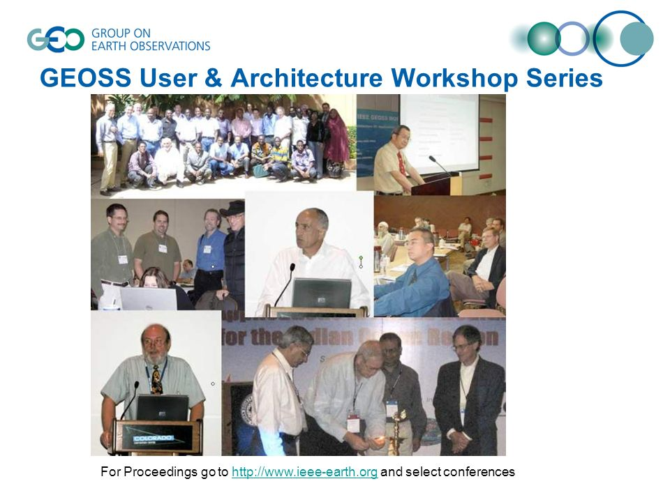 GEOSS User & Architecture Workshop Series For Proceedings go to http://www.ieee-earth.org and select conferenceshttp://www.ieee-earth.org