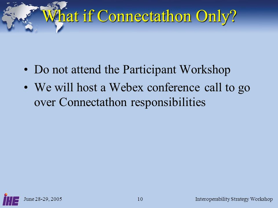 June 28-29, 2005Interoperability Strategy Workshop10 What if Connectathon Only.