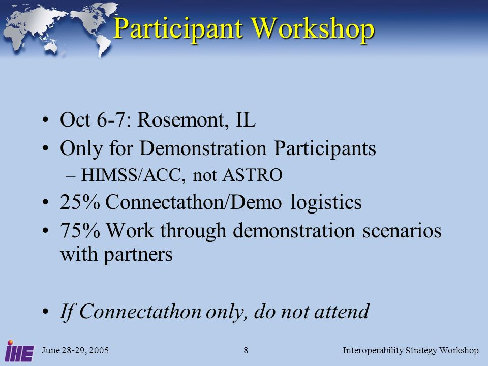 June 28-29, 2005Interoperability Strategy Workshop8 Participant Workshop Oct 6-7: Rosemont, IL Only for Demonstration Participants –HIMSS/ACC, not ASTRO 25% Connectathon/Demo logistics 75% Work through demonstration scenarios with partners If Connectathon only, do not attend