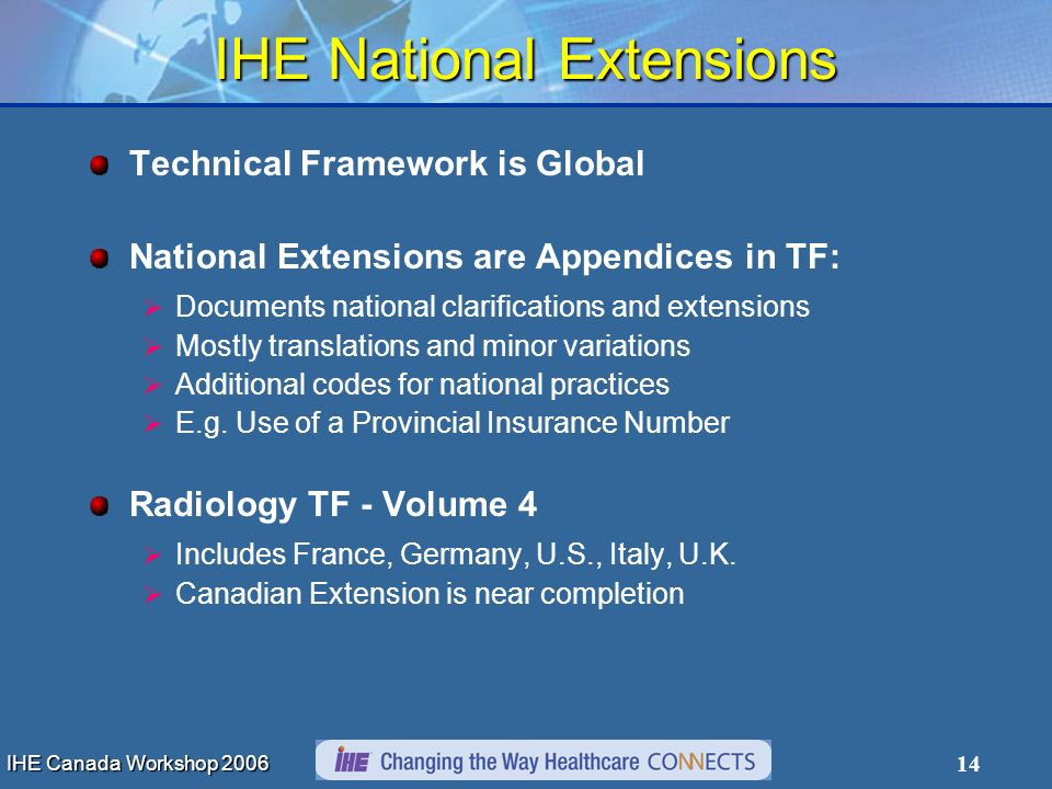 IHE Canada Workshop 2006 14 IHE National Extensions Technical Framework is Global National Extensions are Appendices in TF: Documents national clarifications and extensions Mostly translations and minor variations Additional codes for national practices E.g.