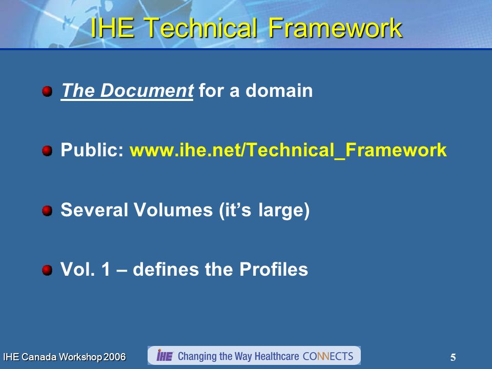IHE Canada Workshop 2006 5 IHE Technical Framework The Document for a domain Public: www.ihe.net/Technical_Framework Several Volumes (its large) Vol.