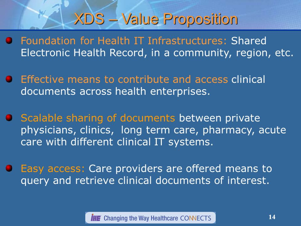 14 XDS – Value Proposition Foundation for Health IT Infrastructures: Shared Electronic Health Record, in a community, region, etc.