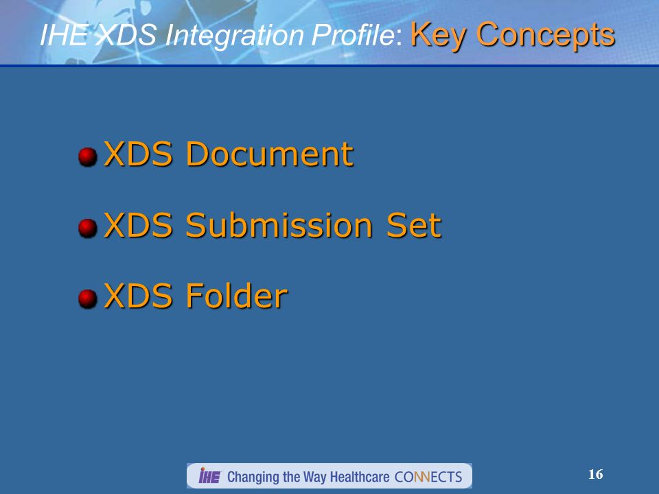 16 XDS Document XDS Submission Set XDS Folder Key Concepts IHE XDS Integration Profile: Key Concepts