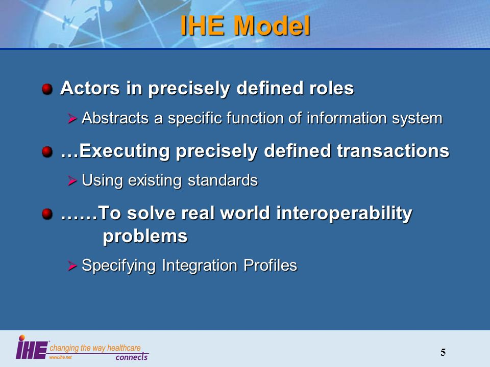 5 IHE Model Actors in precisely defined roles Abstracts a specific function of information system Abstracts a specific function of information system …Executing precisely defined transactions Using existing standards Using existing standards ……To solve real world interoperability problems Specifying Integration Profiles Specifying Integration Profiles