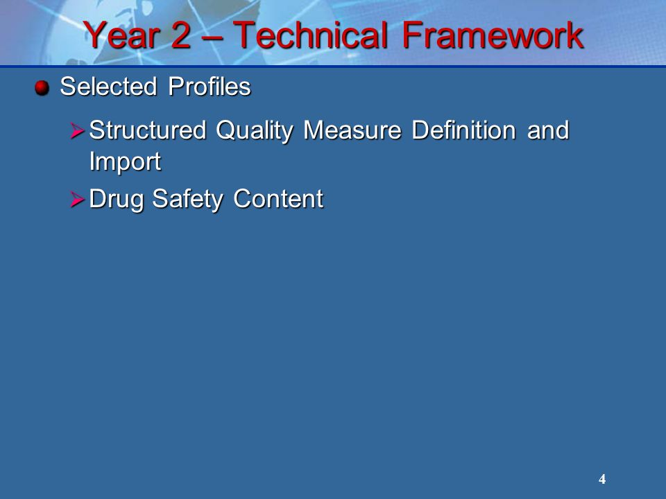 4 Year 2 – Technical Framework Selected Profiles Structured Quality Measure Definition and Import Structured Quality Measure Definition and Import Drug Safety Content Drug Safety Content