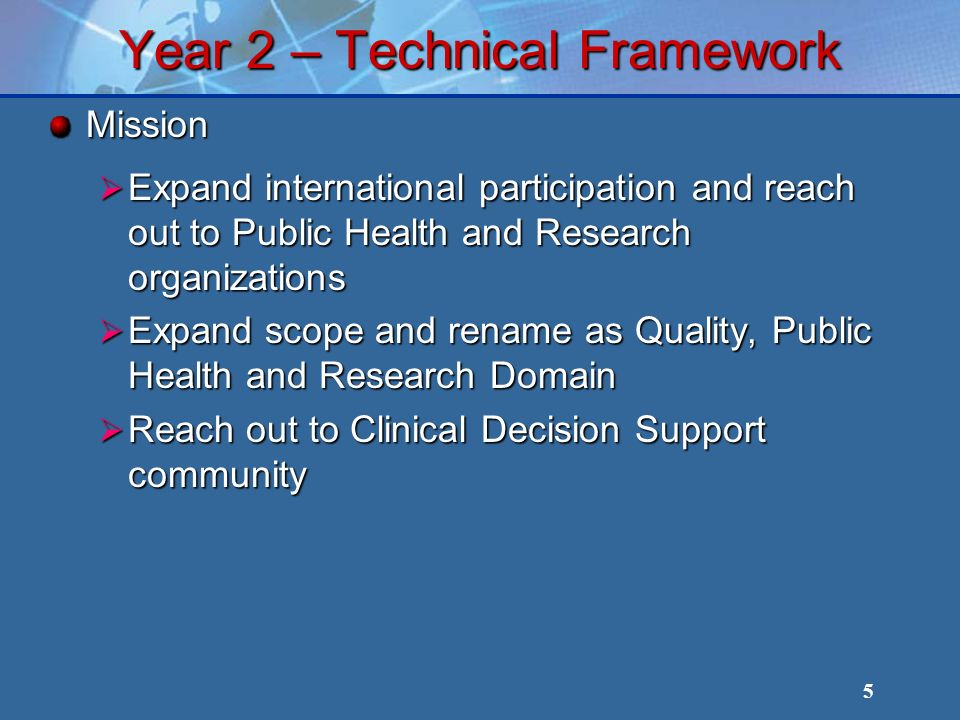 5 Year 2 – Technical Framework Mission Expand international participation and reach out to Public Health and Research organizations Expand international participation and reach out to Public Health and Research organizations Expand scope and rename as Quality, Public Health and Research Domain Expand scope and rename as Quality, Public Health and Research Domain Reach out to Clinical Decision Support community Reach out to Clinical Decision Support community