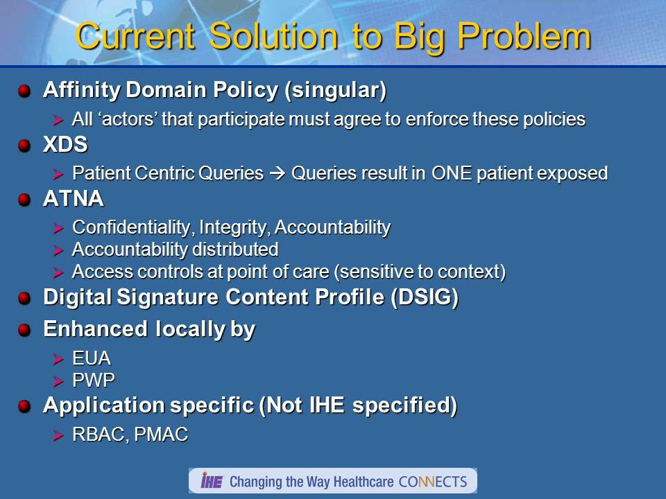 Current Solution to Big Problem Affinity Domain Policy (singular) All actors that participate must agree to enforce these policies All actors that participate must agree to enforce these policiesXDS Patient Centric Queries Queries result in ONE patient exposed Patient Centric Queries Queries result in ONE patient exposedATNA Confidentiality, Integrity, Accountability Confidentiality, Integrity, Accountability Accountability distributed Accountability distributed Access controls at point of care (sensitive to context) Access controls at point of care (sensitive to context) Digital Signature Content Profile (DSIG) Enhanced locally by EUA EUA PWP PWP Application specific (Not IHE specified) RBAC, PMAC RBAC, PMAC
