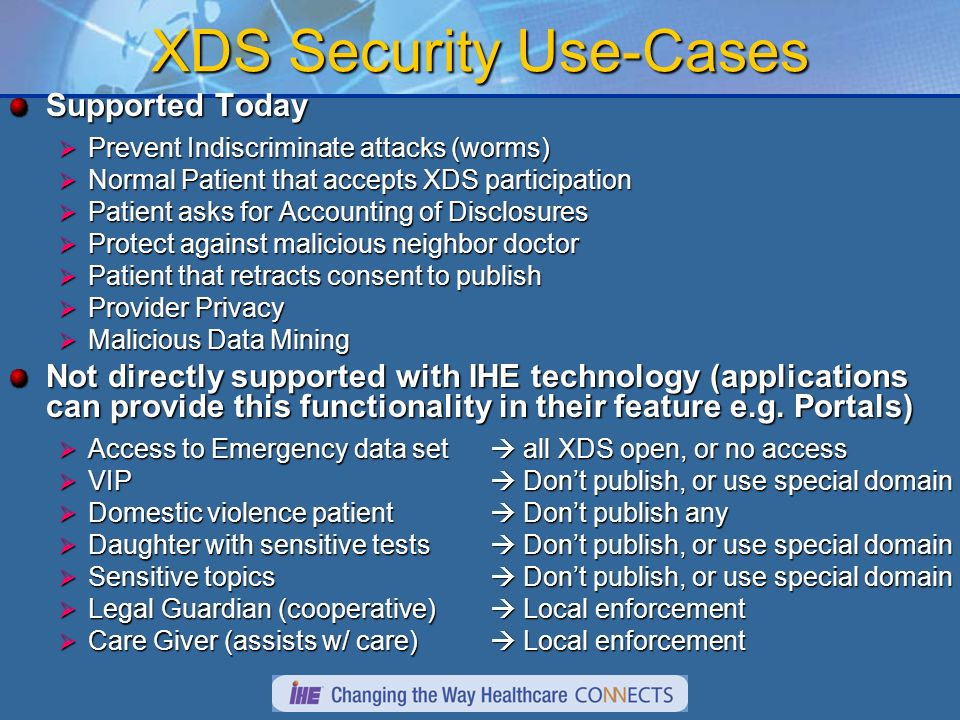 XDS Security Use-Cases Supported Today Prevent Indiscriminate attacks (worms) Prevent Indiscriminate attacks (worms) Normal Patient that accepts XDS participation Normal Patient that accepts XDS participation Patient asks for Accounting of Disclosures Patient asks for Accounting of Disclosures Protect against malicious neighbor doctor Protect against malicious neighbor doctor Patient that retracts consent to publish Patient that retracts consent to publish Provider Privacy Provider Privacy Malicious Data Mining Malicious Data Mining Not directly supported with IHE technology (applications can provide this functionality in their feature e.g.