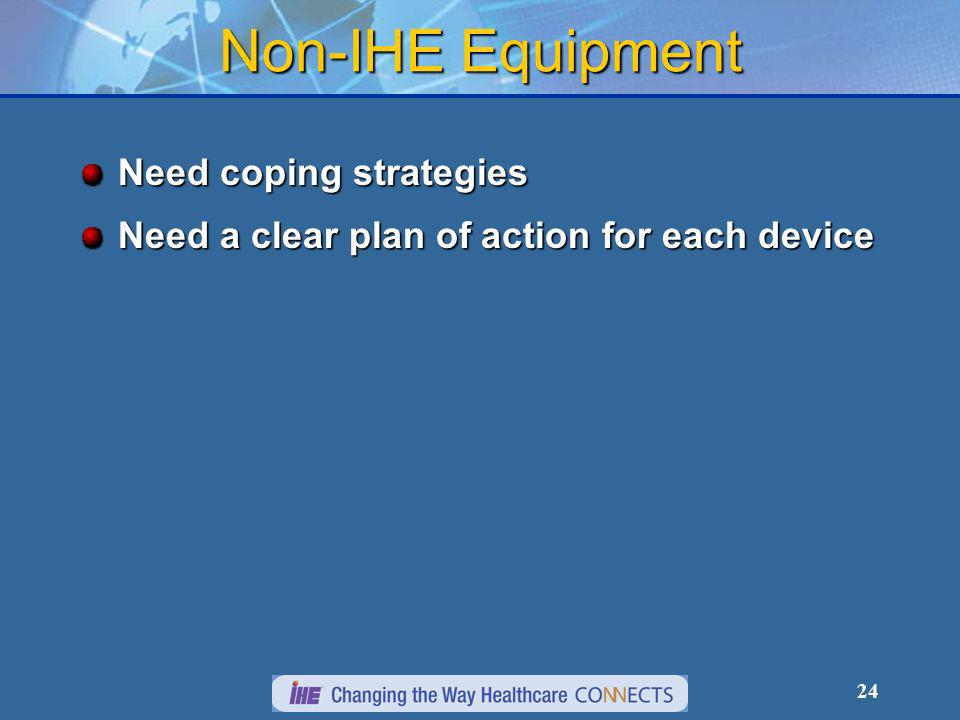 24 Non-IHE Equipment Need coping strategies Need a clear plan of action for each device