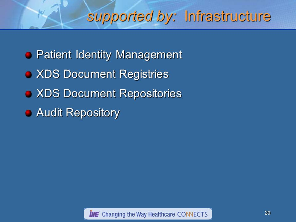 20 supported by: Infrastructure Patient Identity Management XDS Document Registries XDS Document Repositories Audit Repository