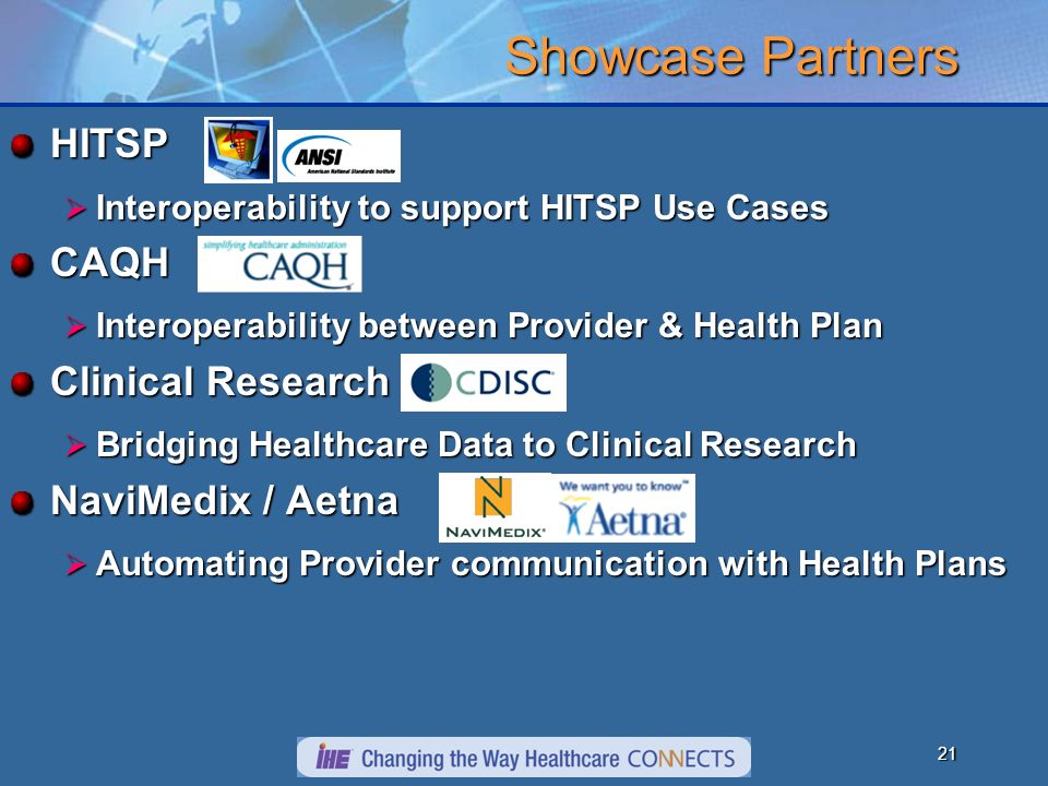 21 Showcase Partners HITSP Interoperability to support HITSP Use Cases Interoperability to support HITSP Use CasesCAQH Interoperability between Provider & Health Plan Interoperability between Provider & Health Plan Clinical Research Bridging Healthcare Data to Clinical Research Bridging Healthcare Data to Clinical Research NaviMedix / Aetna Automating Provider communication with Health Plans Automating Provider communication with Health Plans