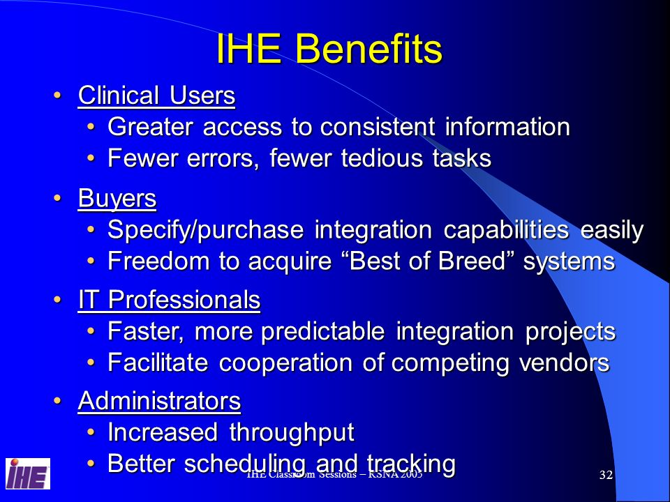 IHE Classroom Sessions – RSNA 2005 31 IHE Value Proposition Product PlanningProduct Planning IHE Solutions are Driven by Strategic Healthcare Lead Users that collaborate with Healthcare VendorsIHE Solutions are Driven by Strategic Healthcare Lead Users that collaborate with Healthcare Vendors IHE Solutions are Generic, Reusable and Interoperable based on Healthcare Standards: DICOM, HL7, RFCIHE Solutions are Generic, Reusable and Interoperable based on Healthcare Standards: DICOM, HL7, RFC IHE Solutions Optimize the Clinical WorkflowsIHE Solutions Optimize the Clinical Workflows IHE Deployment process – Connectathon, Integration Statements and Users Success Stories information helps to refine the product Business CaseIHE Deployment process – Connectathon, Integration Statements and Users Success Stories information helps to refine the product Business Case IHE Technical Framework specification describes the Global IHE solutions at a High Level for Planning & Marketing and in details for products Architects and Engineering developmentIHE Technical Framework specification describes the Global IHE solutions at a High Level for Planning & Marketing and in details for products Architects and Engineering development