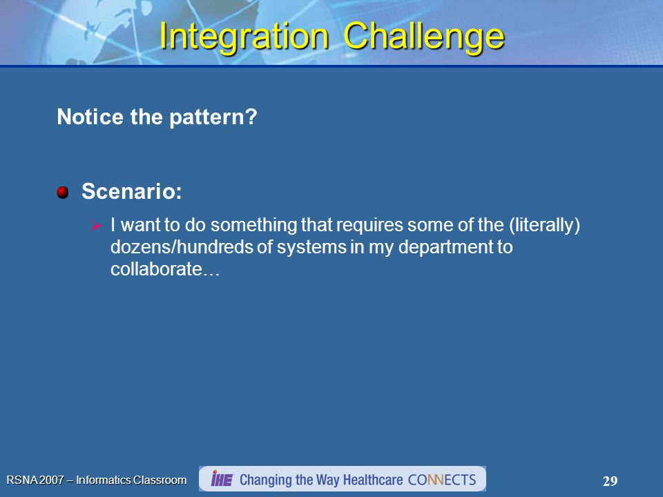 RSNA 2007 – Informatics Classroom 29 Integration Challenge Notice the pattern.