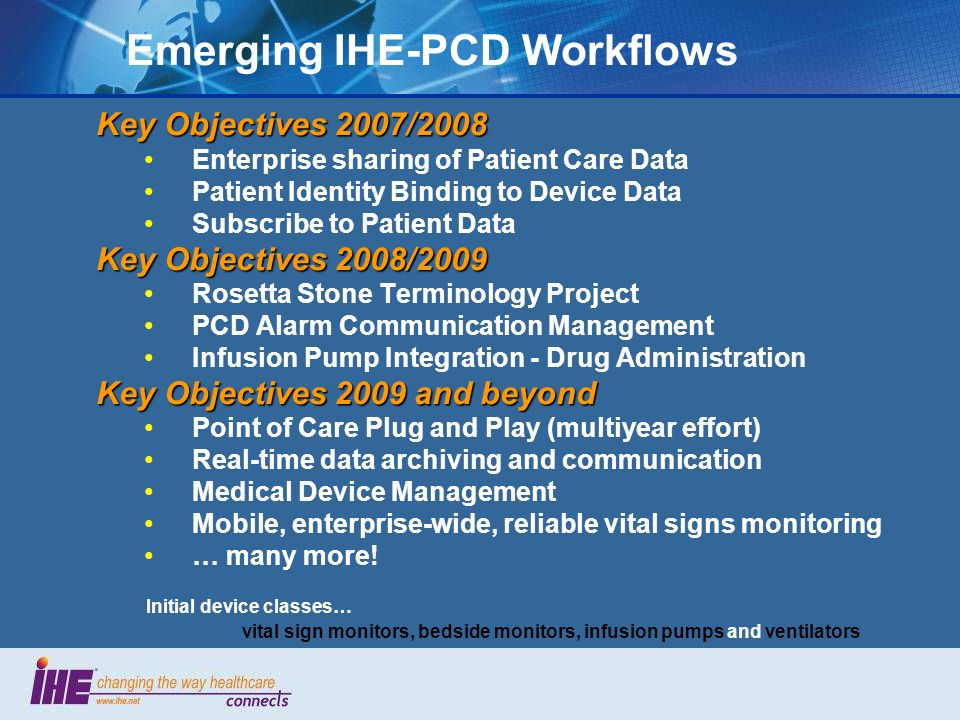 Emerging IHE-PCD Workflows Key Objectives 2007/2008 Enterprise sharing of Patient Care Data Patient Identity Binding to Device Data Subscribe to Patient Data Key Objectives 2008/2009 Rosetta Stone Terminology Project PCD Alarm Communication Management Infusion Pump Integration - Drug Administration Key Objectives 2009 and beyond Point of Care Plug and Play (multiyear effort) Real-time data archiving and communication Medical Device Management Mobile, enterprise-wide, reliable vital signs monitoring … many more.