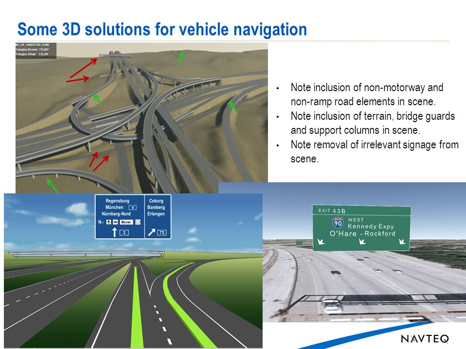 Some 3D solutions for vehicle navigation 3 Note inclusion of non-motorway and non-ramp road elements in scene.