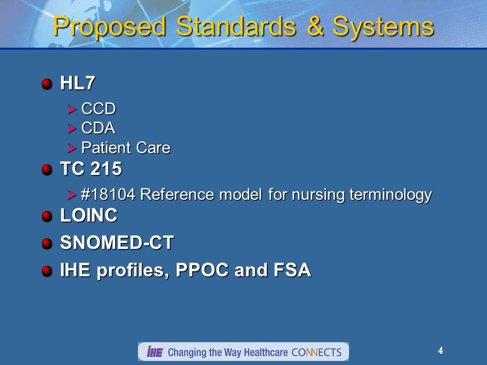 4 Proposed Standards & Systems HL7 CCD CCD CDA CDA Patient Care Patient Care TC 215 #18104 Reference model for nursing terminology #18104 Reference model for nursing terminologyLOINCSNOMED-CT IHE profiles, PPOC and FSA