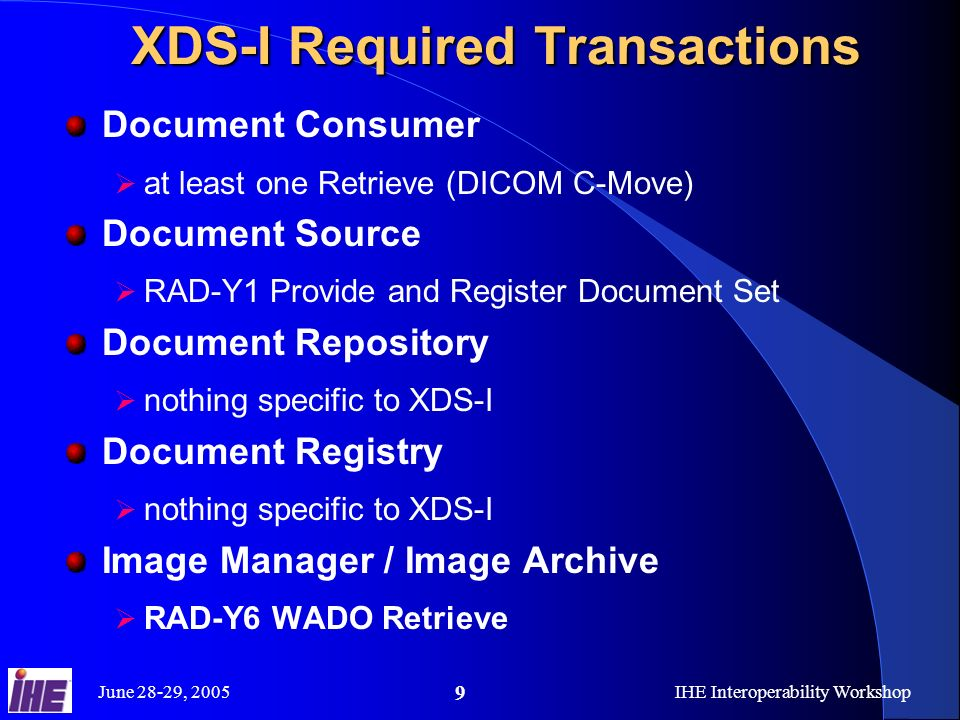 June 28-29, 2005IHE Interoperability Workshop 9 XDS-I Required Transactions Document Consumer at least one Retrieve (DICOM C-Move) Document Source RAD-Y1 Provide and Register Document Set Document Repository nothing specific to XDS-I Document Registry nothing specific to XDS-I Image Manager / Image Archive RAD-Y6 WADO Retrieve