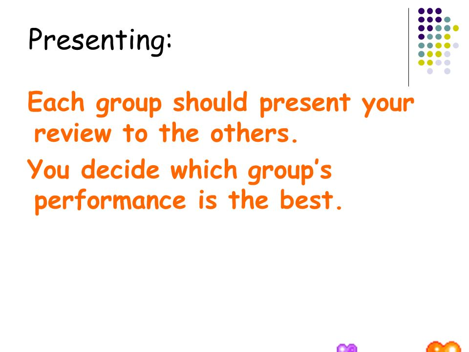 Presenting: Each group should present your review to the others.