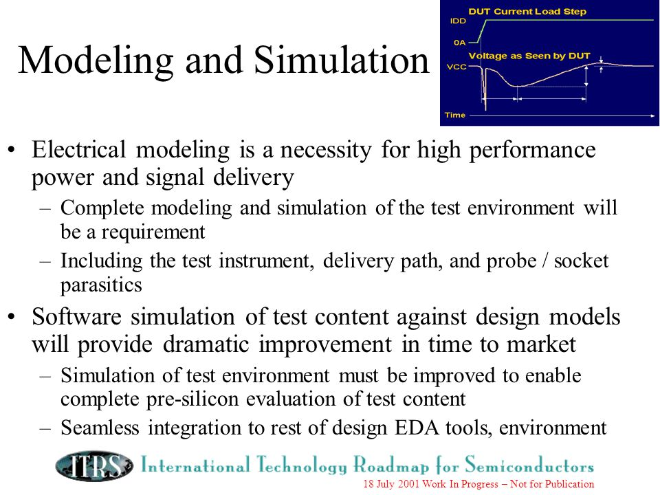 18 July 2001 Work In Progress – Not for Publication Modeling and Simulation Electrical modeling is a necessity for high performance power and signal delivery –Complete modeling and simulation of the test environment will be a requirement –Including the test instrument, delivery path, and probe / socket parasitics Software simulation of test content against design models will provide dramatic improvement in time to market –Simulation of test environment must be improved to enable complete pre-silicon evaluation of test content –Seamless integration to rest of design EDA tools, environment