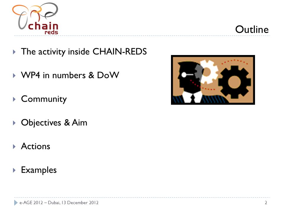 2 Outline The activity inside CHAIN-REDS WP4 in numbers & DoW Community Objectives & Aim Actions Examples