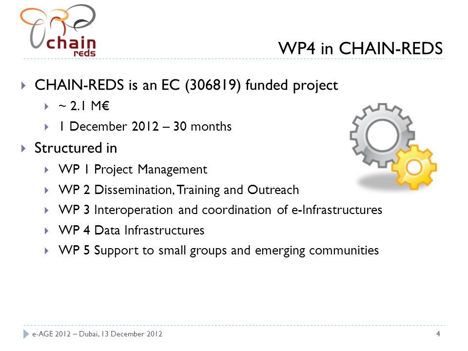 e-AGE 2012 – Dubai, 13 December 20124 CHAIN-REDS is an EC (306819) funded project ~ 2.1 M 1 December 2012 – 30 months Structured in WP 1 Project Management WP 2 Dissemination, Training and Outreach WP 3 Interoperation and coordination of e-Infrastructures WP 4 Data Infrastructures WP 5 Support to small groups and emerging communities WP4 in CHAIN-REDS