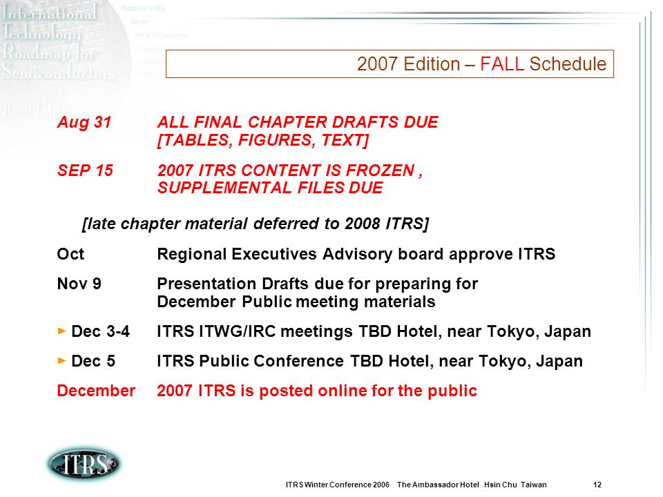 ITRS Winter Conference 2006 The Ambassador Hotel Hsin Chu Taiwan 12 2007 Edition – FALL Schedule Aug 31ALL FINAL CHAPTER DRAFTS DUE [TABLES, FIGURES, TEXT] SEP 152007 ITRS CONTENT IS FROZEN, SUPPLEMENTAL FILES DUE [late chapter material deferred to 2008 ITRS] OctRegional Executives Advisory board approve ITRS Nov 9 Presentation Drafts due for preparing for December Public meeting materials Dec 3-4 ITRS ITWG/IRC meetings TBD Hotel, near Tokyo, Japan Dec 5ITRS Public Conference TBD Hotel, near Tokyo, Japan December2007 ITRS is posted online for the public