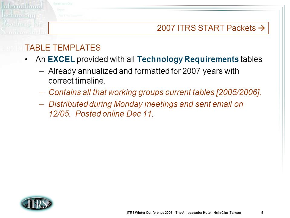 ITRS Winter Conference 2006 The Ambassador Hotel Hsin Chu Taiwan 5 2007 ITRS START Packets TABLE TEMPLATES An EXCEL provided with all Technology Requirements tables –Already annualized and formatted for 2007 years with correct timeline.