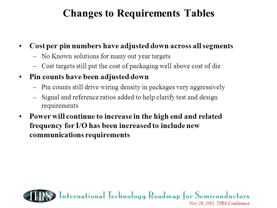 Nov 29, 2001 ITRS Conference Changes to Requirements Tables Cost per pin numbers have adjusted down across all segments –No Known solutions for many out year targets –Cost targets still put the cost of packaging well above cost of die Pin counts have been adjusted down –Pin counts still drive wiring density in packages very aggressively –Signal and reference ratios added to help clarify test and design requirements Power will continue to increase in the high end and related frequency for I/O has been increased to include new communications requirements