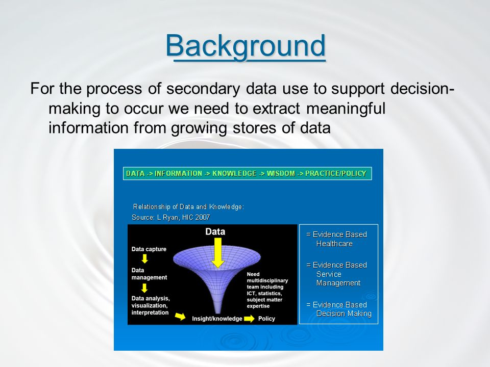 For the process of secondary data use to support decision- making to occur we need to extract meaningful information from growing stores of data _________ _________Background