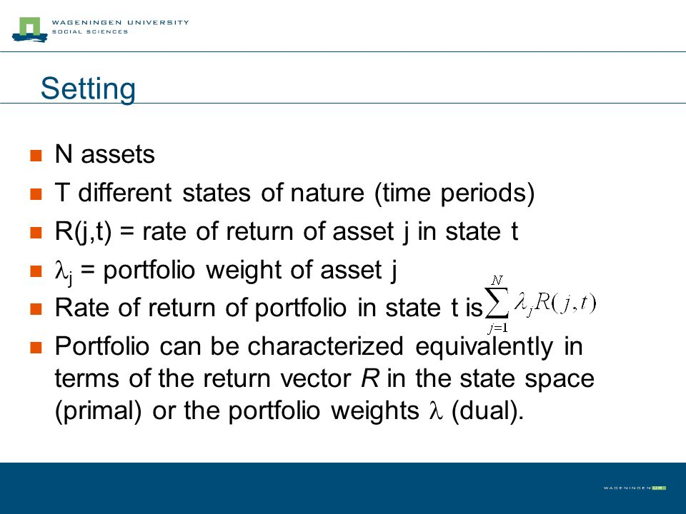 Setting N assets T different states of nature (time periods) R(j,t) = rate of return of asset j in state t j = portfolio weight of asset j Rate of return of portfolio in state t is Portfolio can be characterized equivalently in terms of the return vector R in the state space (primal) or the portfolio weights (dual).