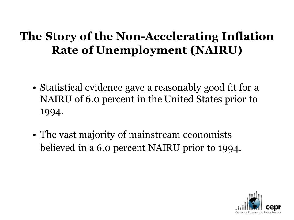 Statistical evidence gave a reasonably good fit for a NAIRU of 6.0 percent in the United States prior to 1994.