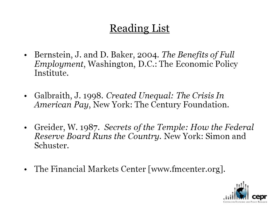 Reading List Bernstein, J. and D. Baker, 2004.