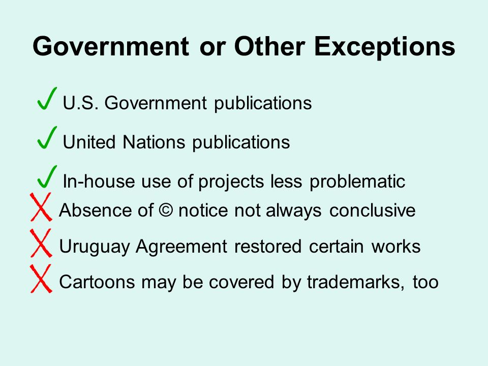 Government or Other Exceptions U.S.