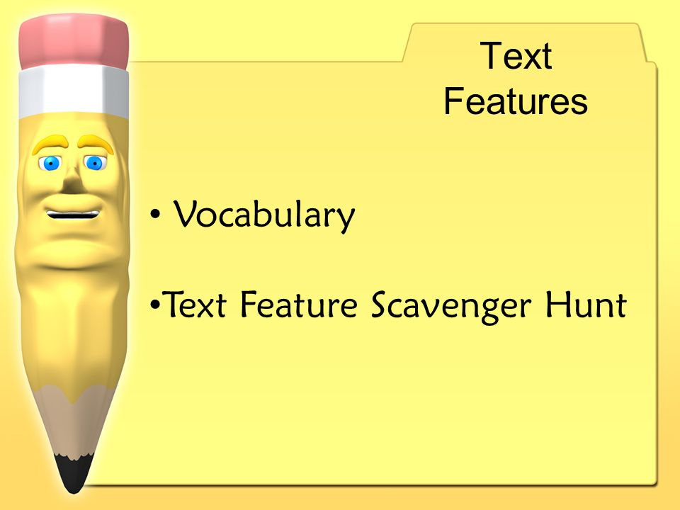 Text Features Vocabulary Text Feature Scavenger Hunt