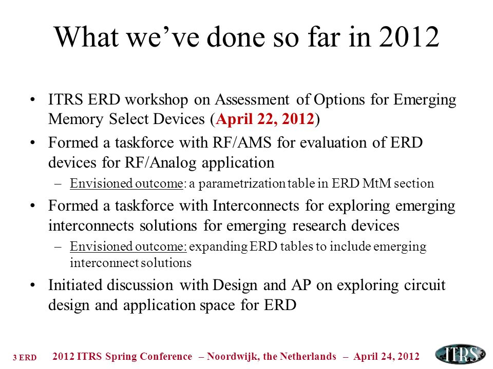 3 ERD 2012 ITRS Spring Conference – Noordwijk, the Netherlands – April 24, 2012 What weve done so far in 2012 ITRS ERD workshop on Assessment of Options for Emerging Memory Select Devices (April 22, 2012) Formed a taskforce with RF/AMS for evaluation of ERD devices for RF/Analog application –Envisioned outcome: a parametrization table in ERD MtM section Formed a taskforce with Interconnects for exploring emerging interconnects solutions for emerging research devices –Envisioned outcome: expanding ERD tables to include emerging interconnect solutions Initiated discussion with Design and AP on exploring circuit design and application space for ERD
