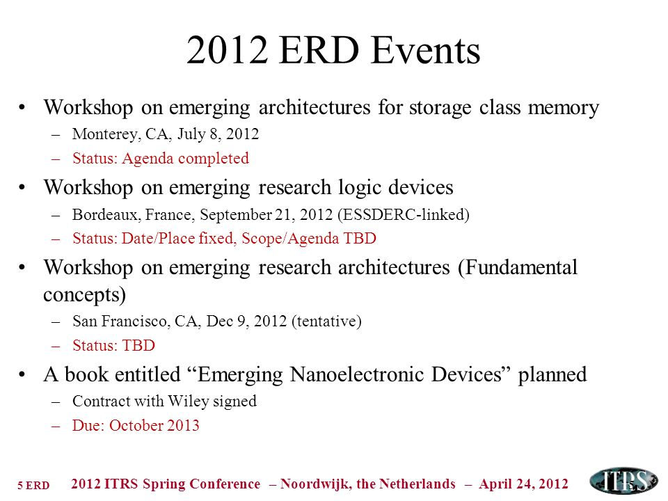 5 ERD 2012 ITRS Spring Conference – Noordwijk, the Netherlands – April 24, 2012 5 2012 ERD Events Workshop on emerging architectures for storage class memory –Monterey, CA, July 8, 2012 –Status: Agenda completed Workshop on emerging research logic devices –Bordeaux, France, September 21, 2012 (ESSDERC-linked) –Status: Date/Place fixed, Scope/Agenda TBD Workshop on emerging research architectures (Fundamental concepts) –San Francisco, CA, Dec 9, 2012 (tentative) –Status: TBD A book entitled Emerging Nanoelectronic Devices planned –Contract with Wiley signed –Due: October 2013
