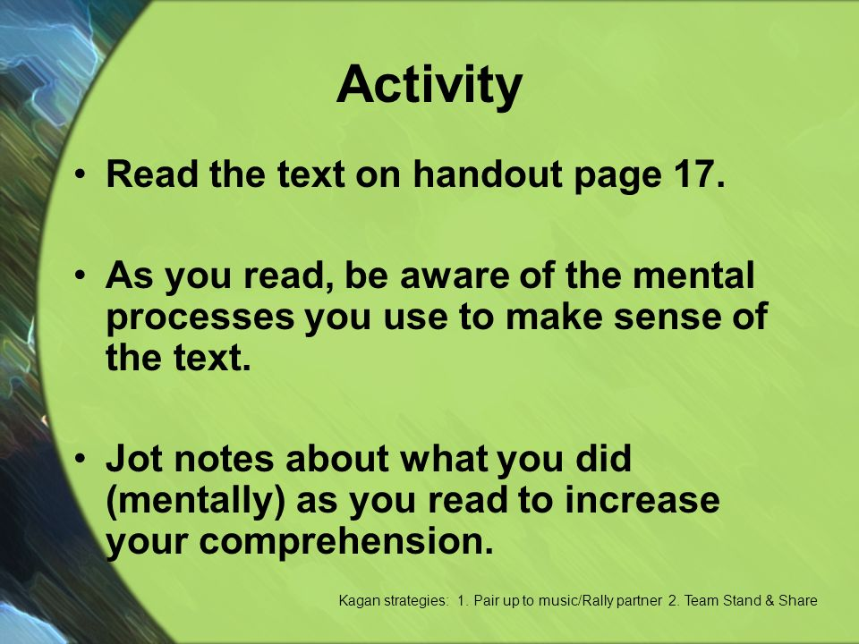Activity Read the text on handout page 17.