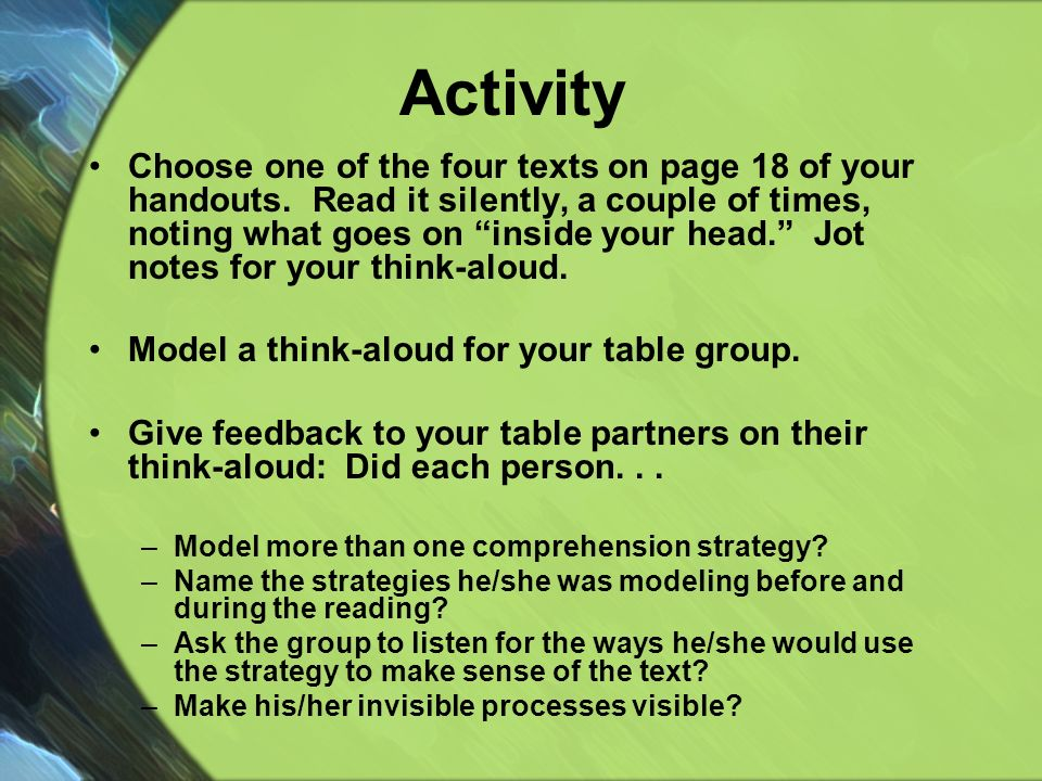 Activity Choose one of the four texts on page 18 of your handouts.