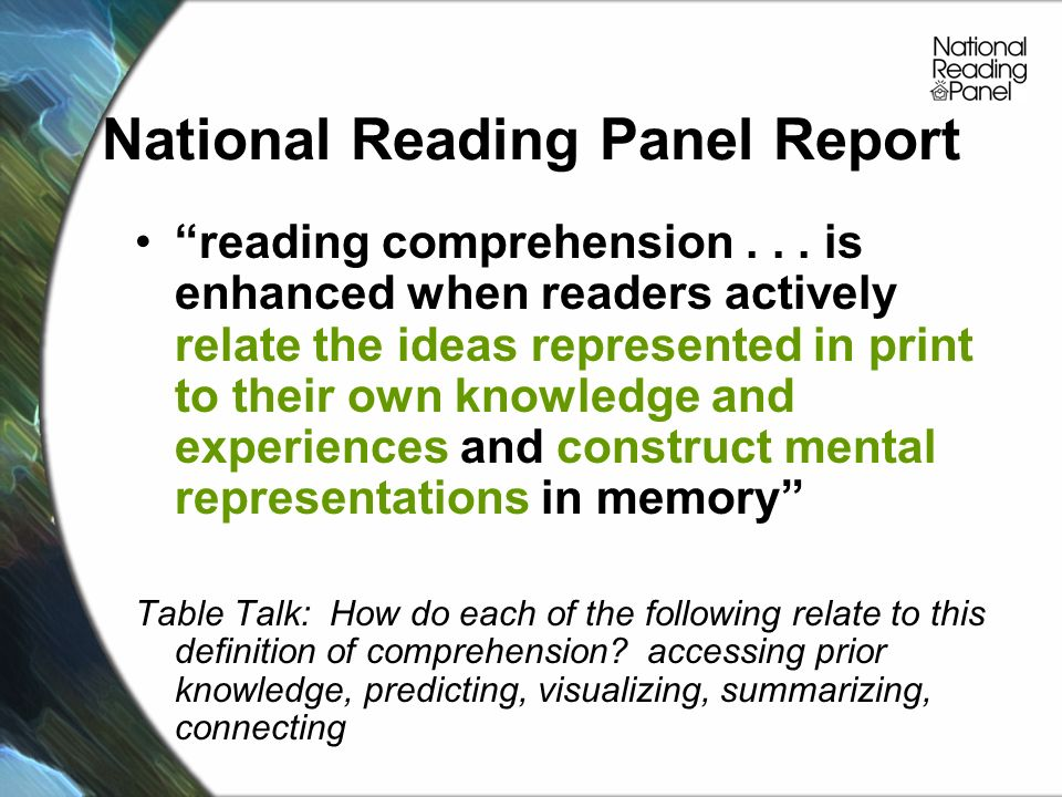 National Reading Panel Report reading comprehension...
